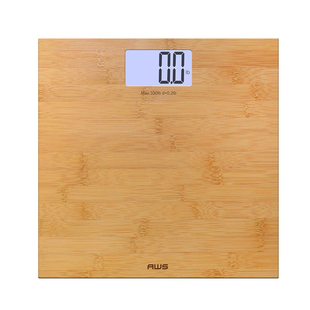 AMERICAN WEIGH SCALES Deluxe Eco-Friendly Digital Backlit Bathroom Scale Bamboo 330lbs
