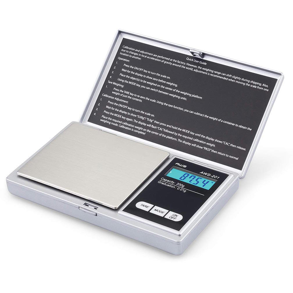 American Weigh Scales Digital Personal Nutrition Scale Pocket Size Silver