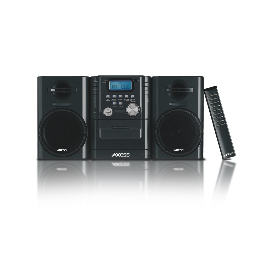 AXESS MS3912 BLACK MINI SHELF ENTERTAINMENT SYSTEM 12 WATT
