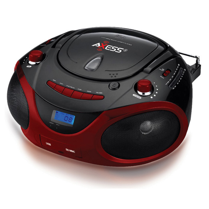 Axess Portable MP3/CD/USB/SD Boombox with AMFM Stereo Red