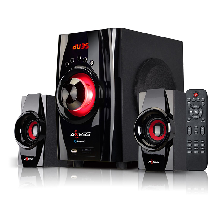 AXESS Bluetooth Mini System 2.1 Channel Home Theater Speaker Sys Red