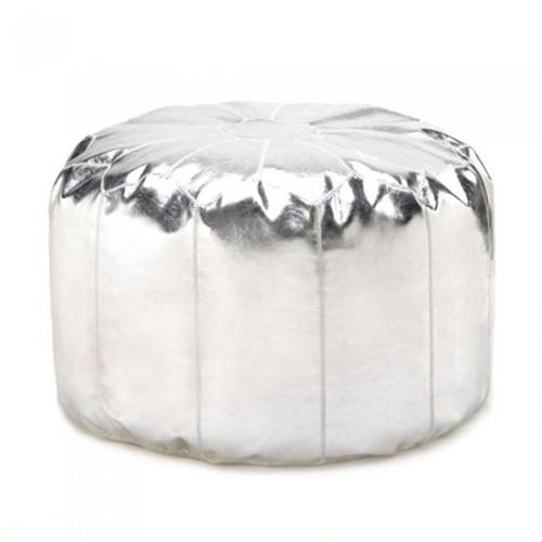 Silver Ottoman Pouf