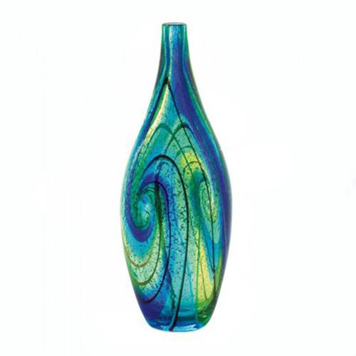 Blue Swirl Art Glass Vase