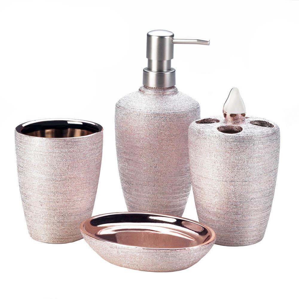 Golden Rose Shimmer Bath Accessory Set