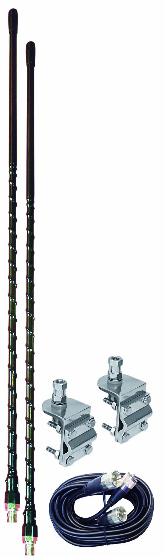 4' DUAL MIRROR MT KIT W/9' COAX (BLACK)