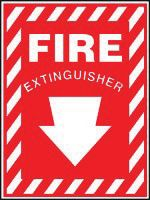 "Accuform 10"" X 7"" Red And White Plastic Value+ Extinguisher Sign ""Fire Extinguisher"" With Down Arrow"