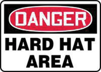 "Accuform Signs� 10"" X 14"" Red, Black And White Plastic Personal Protection Sign ""Danger Hard Hat Area"""