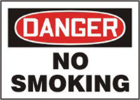 "Accuform Signs� 10"" X 14"" Red, Black And White Plastic Smoking Control Sign ""Danger No Smoking"""