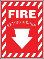 "Accuform Signs� 14"" X 10"" Red And White Plastic Fire And Emergency Sign With Pictogram ""Fire Extinguisher"""