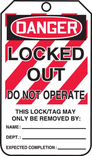 "Accuform Signs� 5 7/8"" X 3 1/8"" RP-Plastic Lockout - Tagout Tag DANGER LOCKED OUT DO NOT OPERATE (25 Per Pack)"
