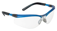 3M+ BX+ Safety Glasses With Ocean Blue Frame And Clear Polycarbonate Indoor/Outdoor Mirror Lens