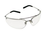 3M+ Metaliks+ Safety Glasses With Polished Metal Silver Frame And Clear Polycarbonate Anti-Fog Lens