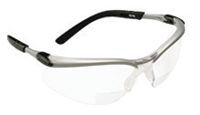 3M+ BX+ Dual Readers 2.0 Diopter Safety Glasses With Silver And Black Frame And Clear Polycarbonate Lens