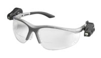 3M+ Light Vision+ 2 Readers 2.5 Diopter Safety Glasses With Gray Frame, Clear Polycarbonate Anti-Fog Lens, Dual LED Lights, Micr