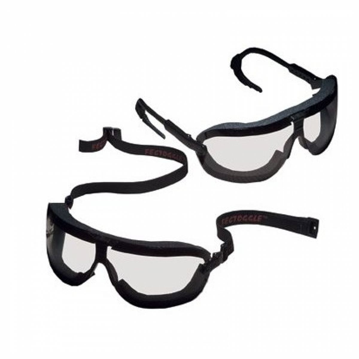 3M+ Medium Fectoggles+ Dust And Impact Goggles With Black Adjustable Temple Foam Lined Frame And Clear DX+ Anti-Fog, Hard Coat L