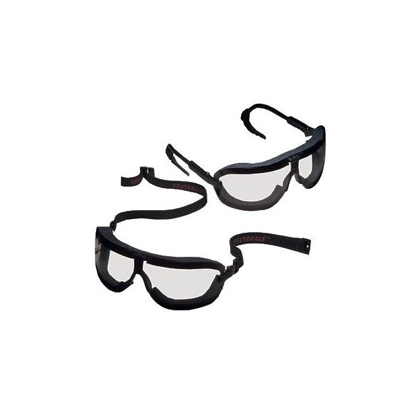 3M+ Large Fectoggles+ Dust And Impact Goggles With Black Foam Lined Frame, Clear DX+ Anti-Fog, Hard Coat Lens And Elastic Band