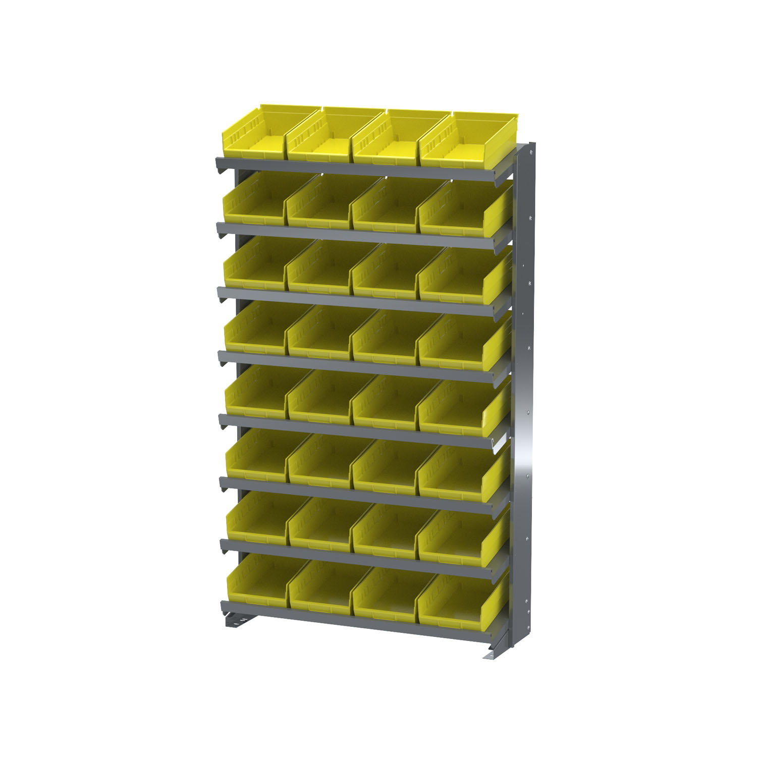 "Akro-Mils 12"" One Sided Storage Pick Rack 32 Shelf Bins, Gray/Yellow"