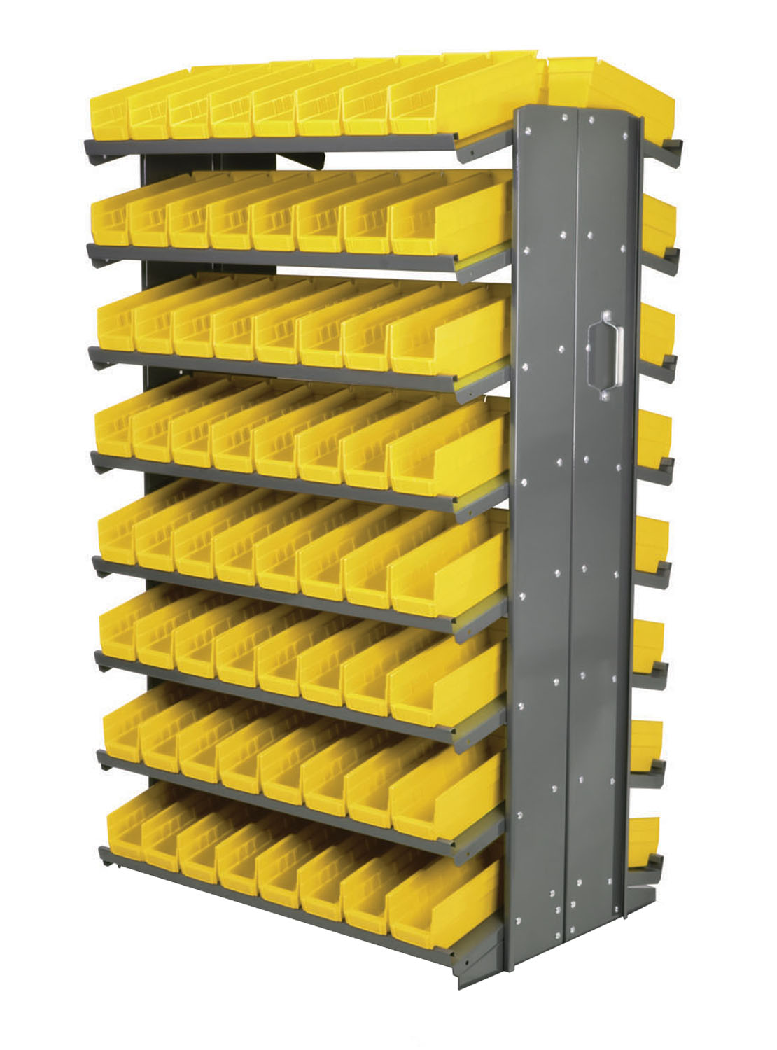"Akro-Mils 12"" Double Sided Storage Pick Rack 144 Shelf Bins, Gray/Yellow"