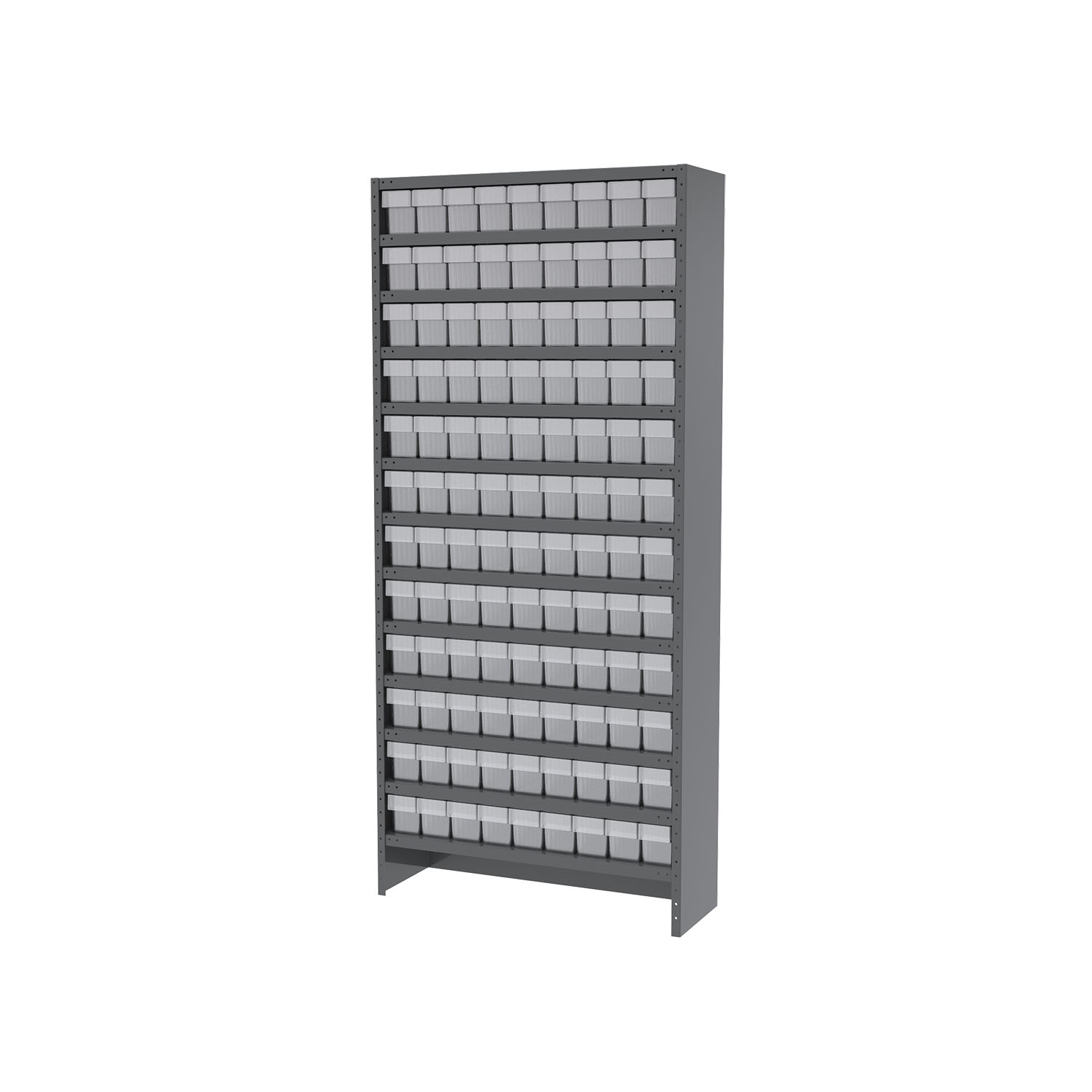 Akro-Mils Enclosed Steel Shelving Kit 13 Shelves12x36x79, 108 AkroDrawers Gray/Clear