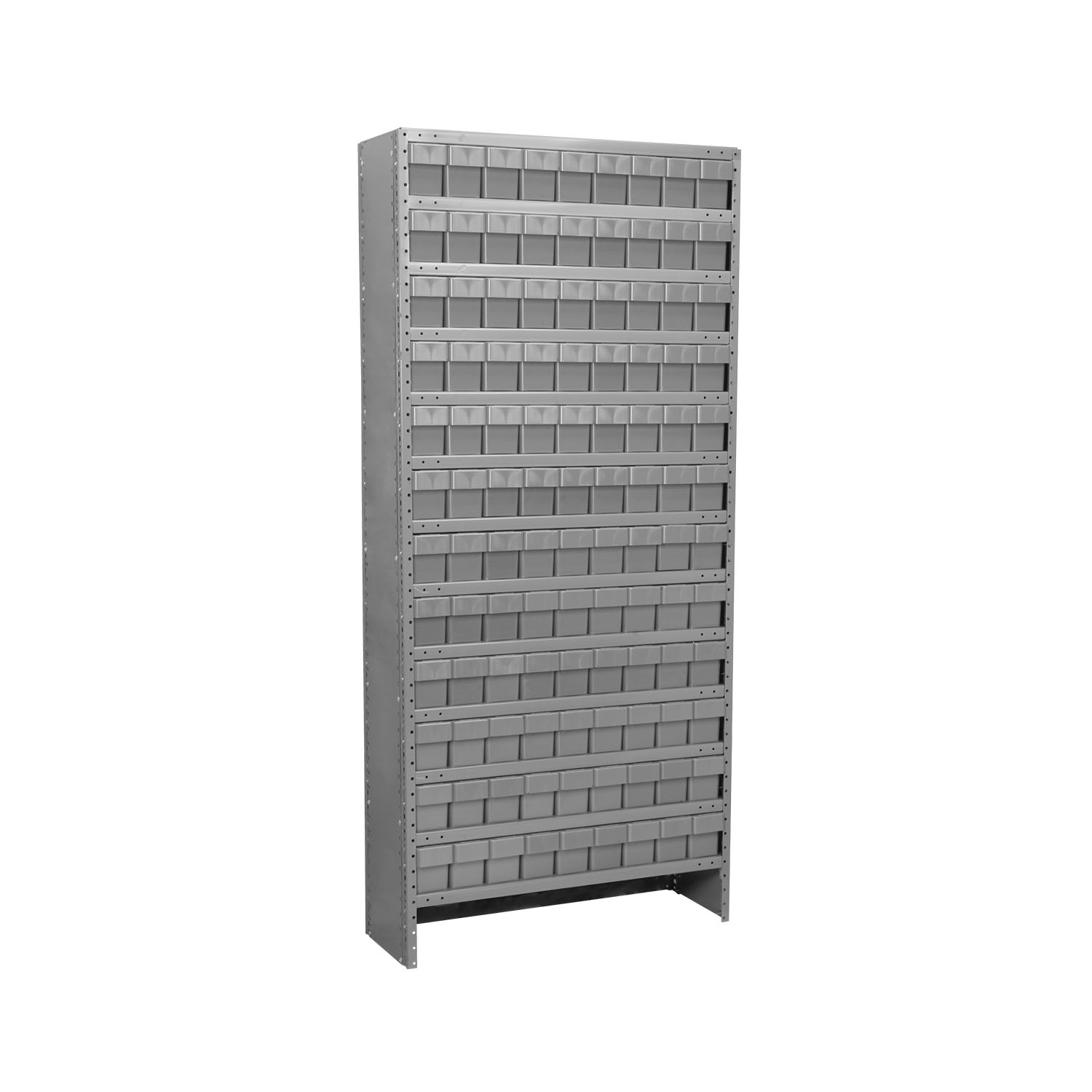 Akro-Mils Enclosed Steel Shelving Kit 13 Shelves12x36x79, 108 AkroDrawers Gray/Gray