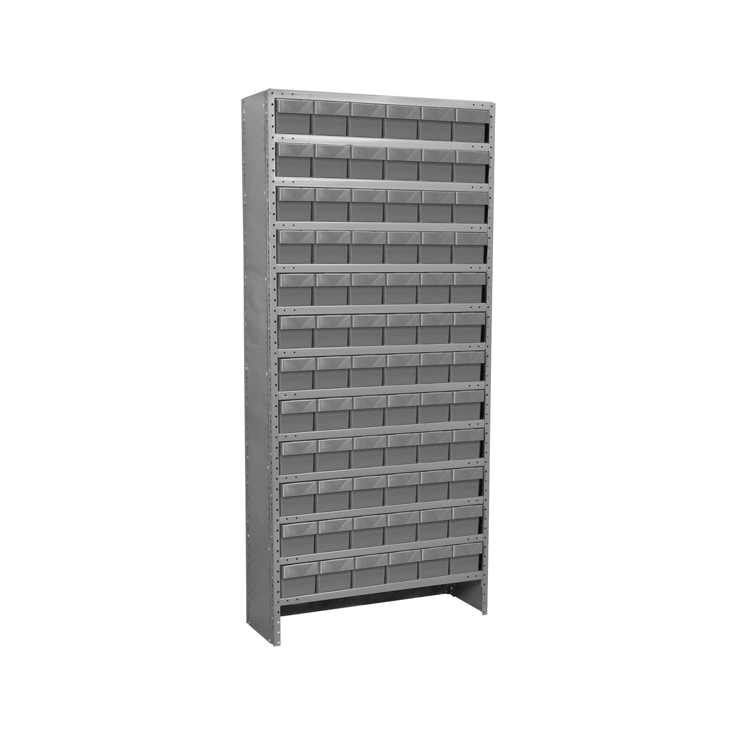 Akro-Mils Enclosed Steel Shelving Kit 13 Shelves 12x36x79, 72 AkroDrawers Gray/Gray