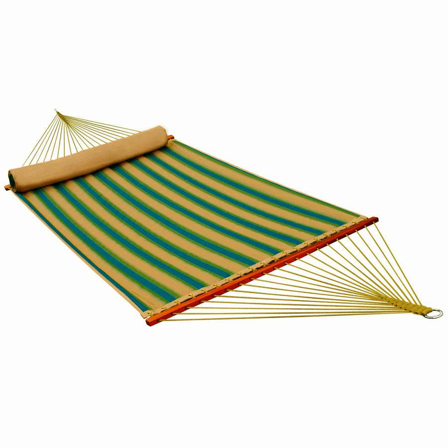 13' Reversible Quilted Hammock w/ Matching Pillow - Black Forest Stripe Pattern/Sand Solid