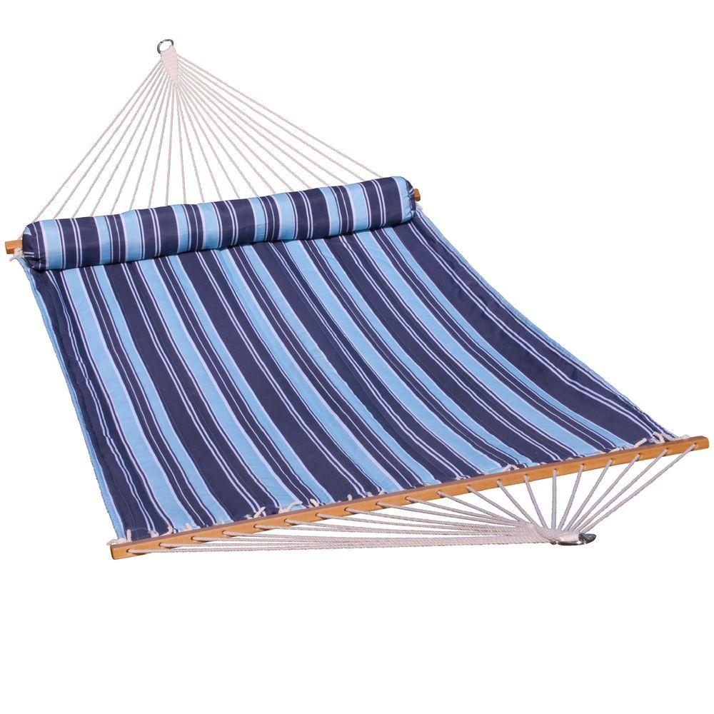 13' Quilted Hammock w/Matching Pillow - Blue Stripe