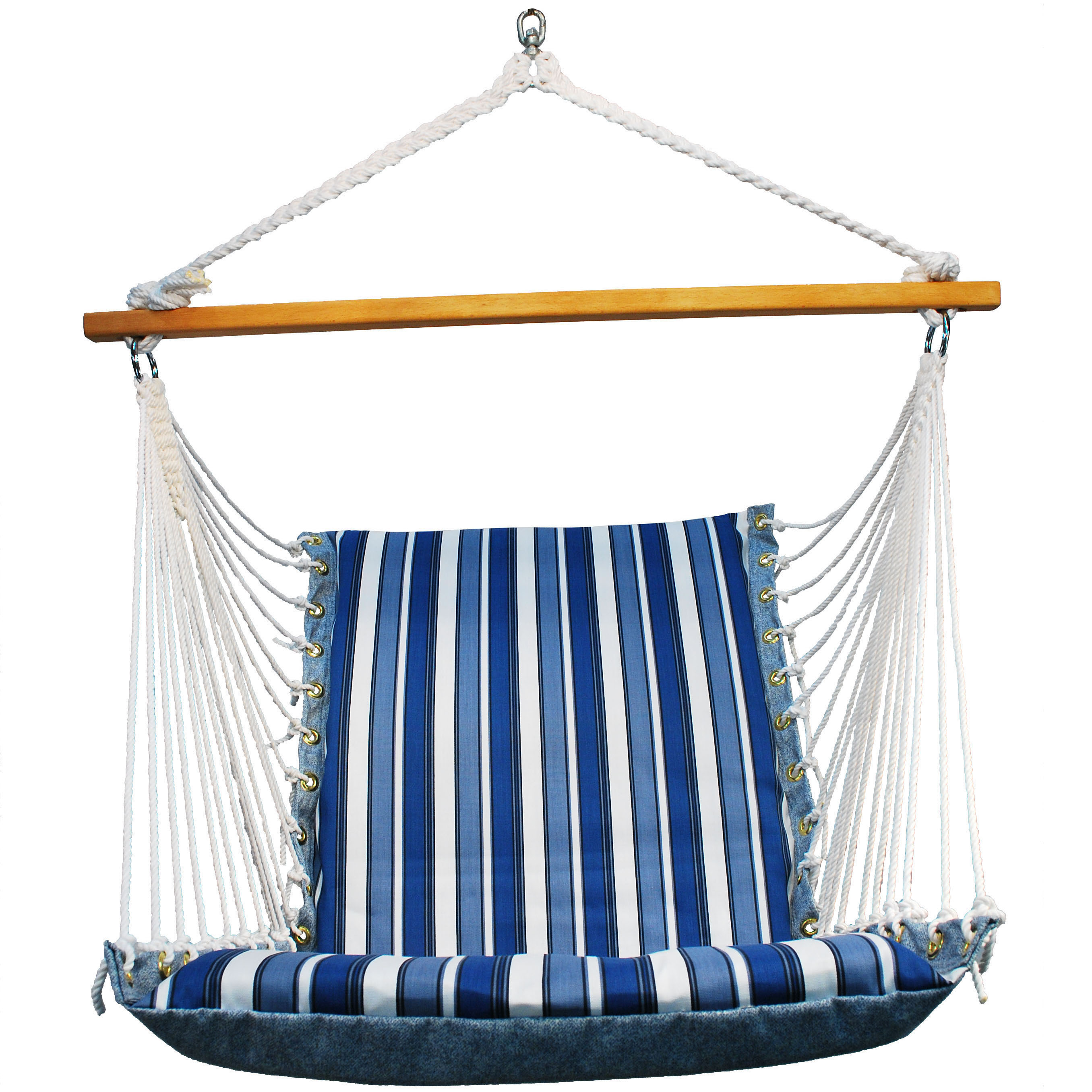 Soft Comfort Cushion Hanging Chair, Tropical Palm Stripe Blue/Norway Powder Blue