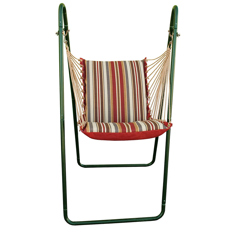 Swing Chair and Stand Combination, Roxen Stripe Nutmeg and Burnt Orange