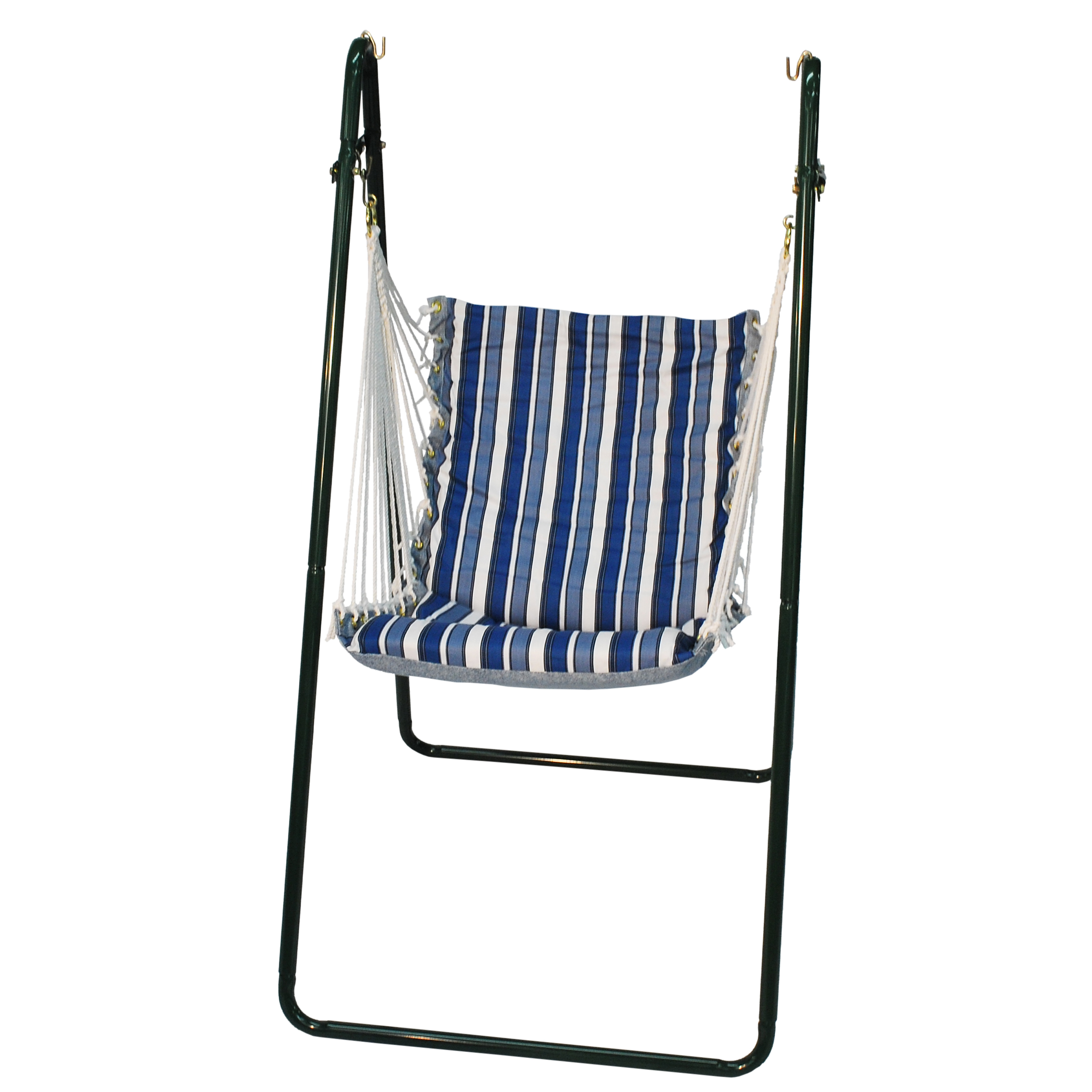 Swing Chair and Stand Combination, Tropical Palm Stripe Blue/Norway Powder Blue