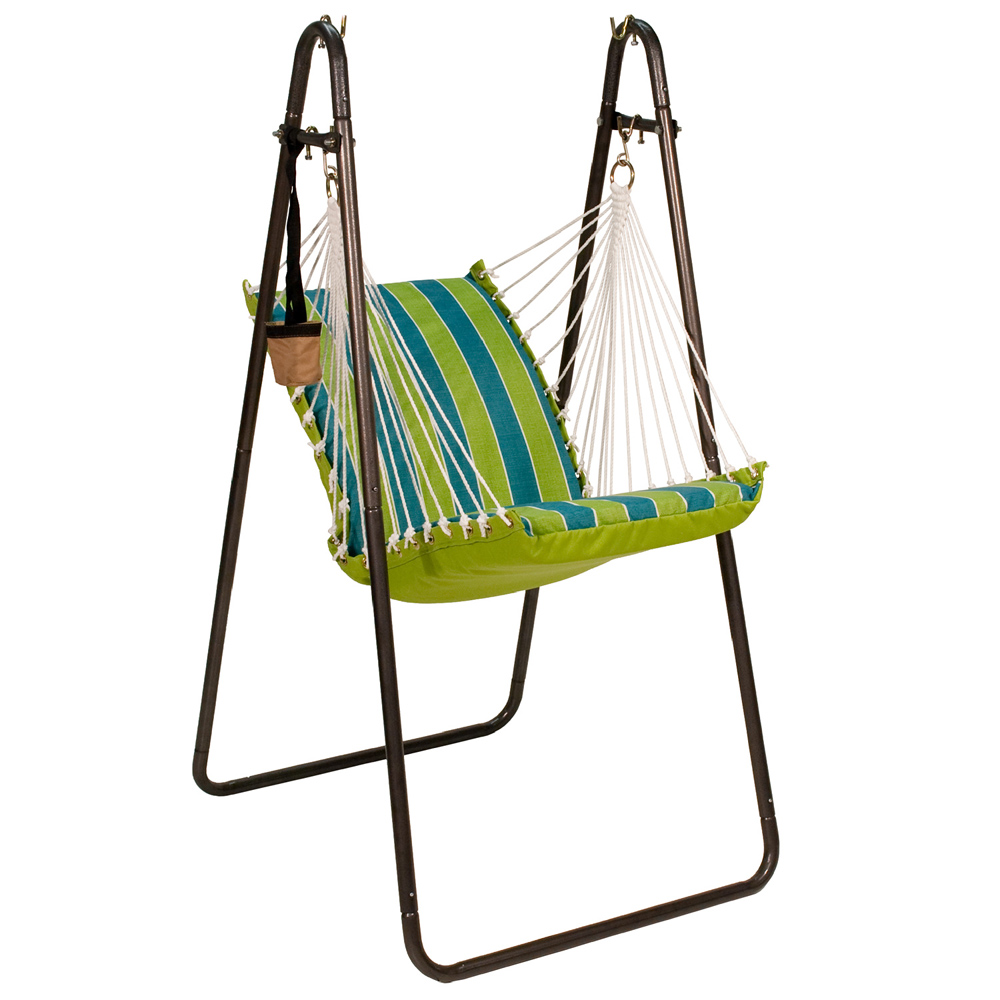 Hanging Chair with Stand Set - Wickenburg Teal/ Cobble Willow