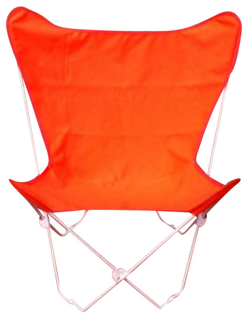 Butterfly Chair and Cover Combination w/White Frame - Orange