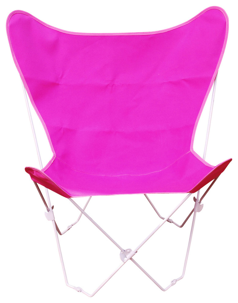 Butterfly Chair and Cover Combination w/White Frame - Pink