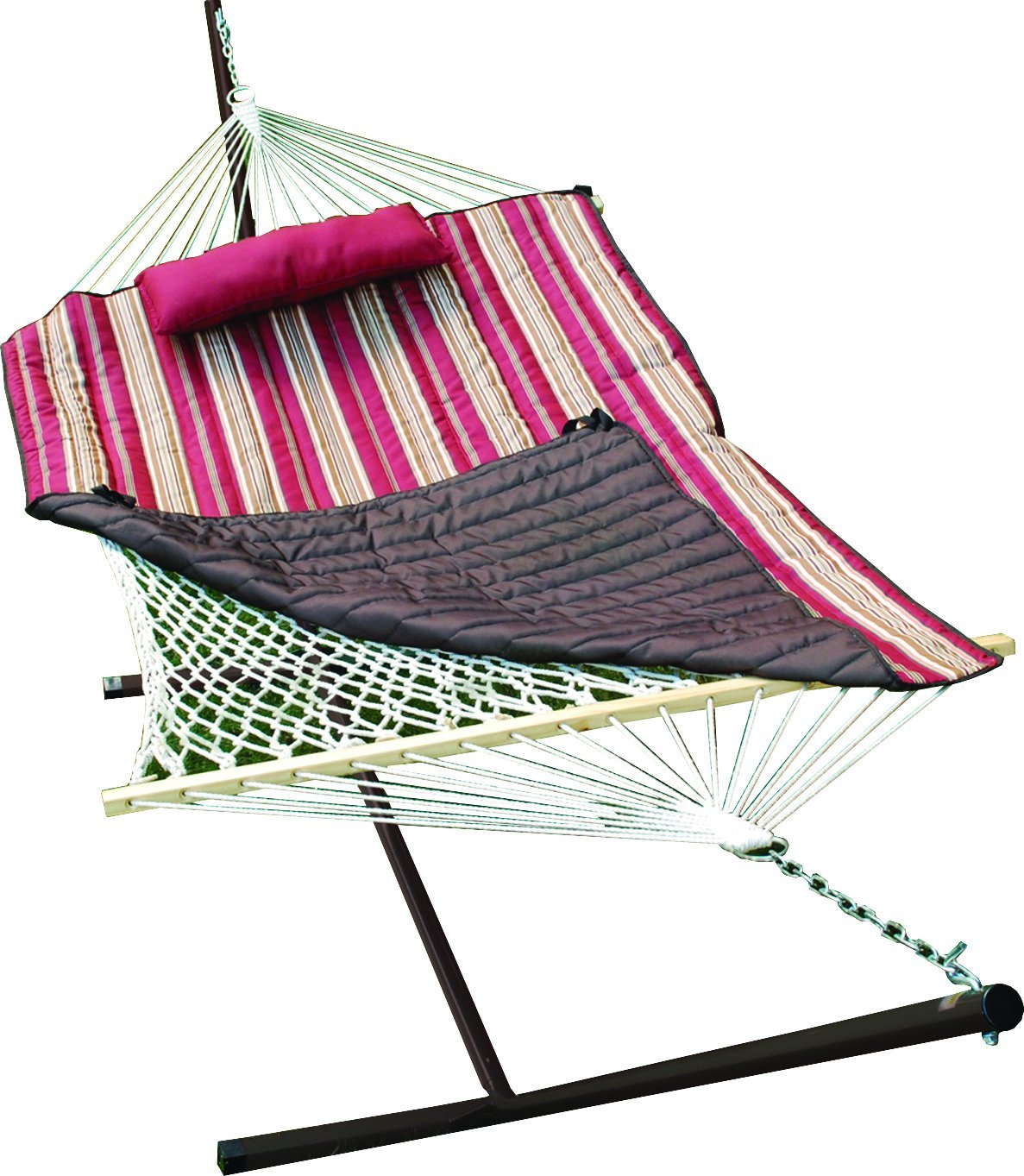 Cotton Rope Hammock, Stand, Pad and Pillow Combination