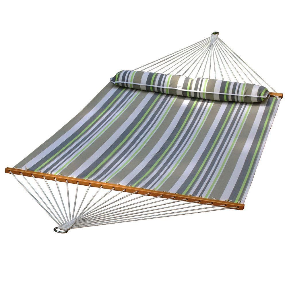 13' Quick Dry Hammock with Large Pillow - Green/Grey Stripe