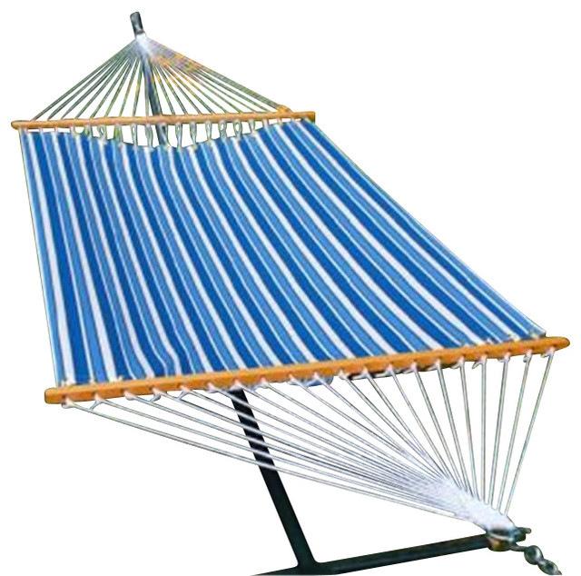 13' Fabric Hammock - Tropical Palm Stripe Blue Print