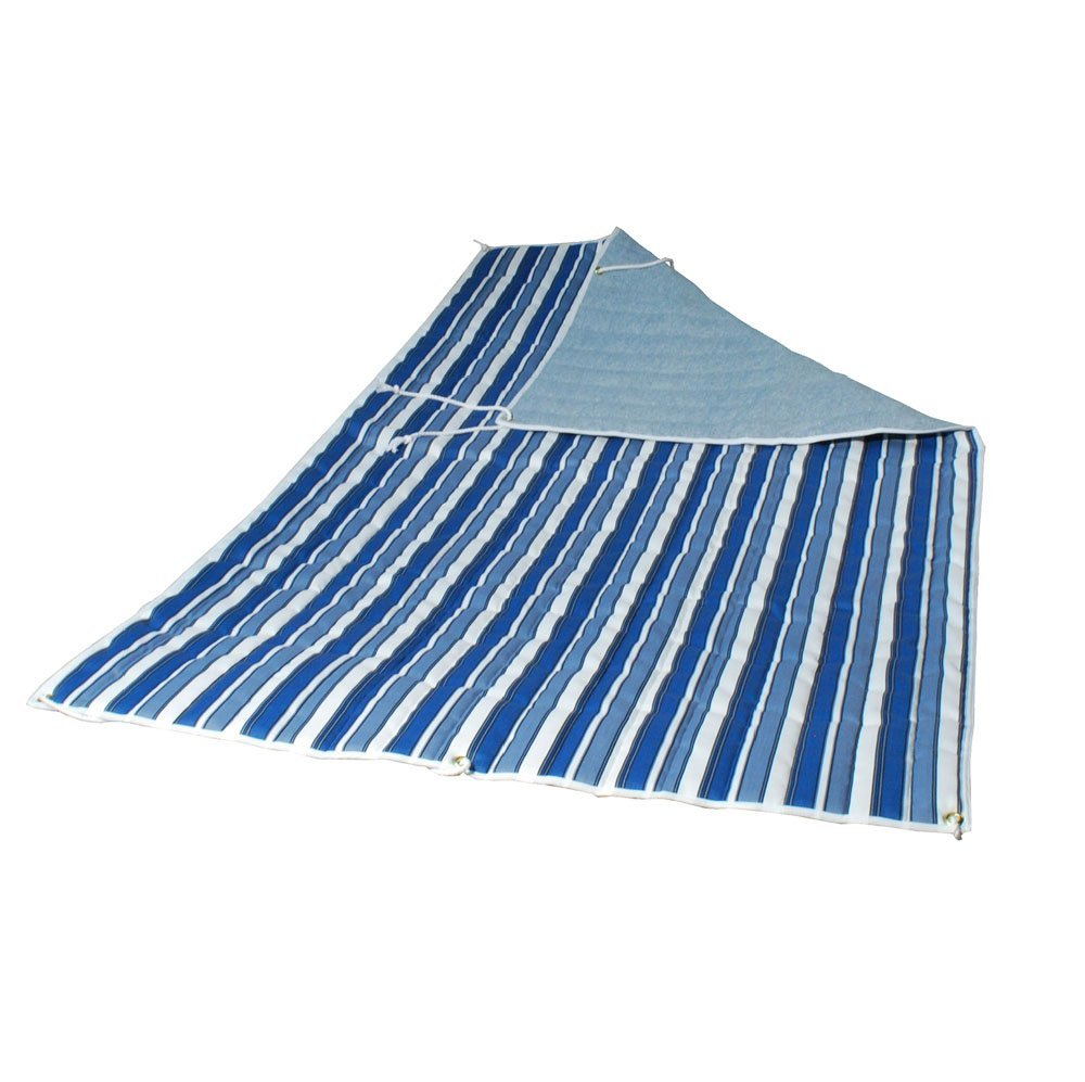 Quilted Reversible Hammock Pad - Tropical Palm Stripe Blue/Norway Powder Blue