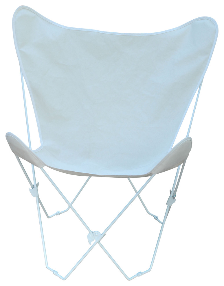 Butterfly Chair And Cover Combination With White Frame - Natural