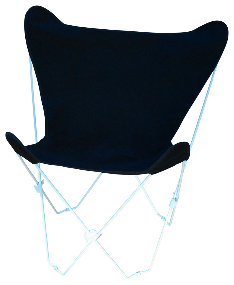 Butterfly Chair And Cover Combination With White Frame - Black