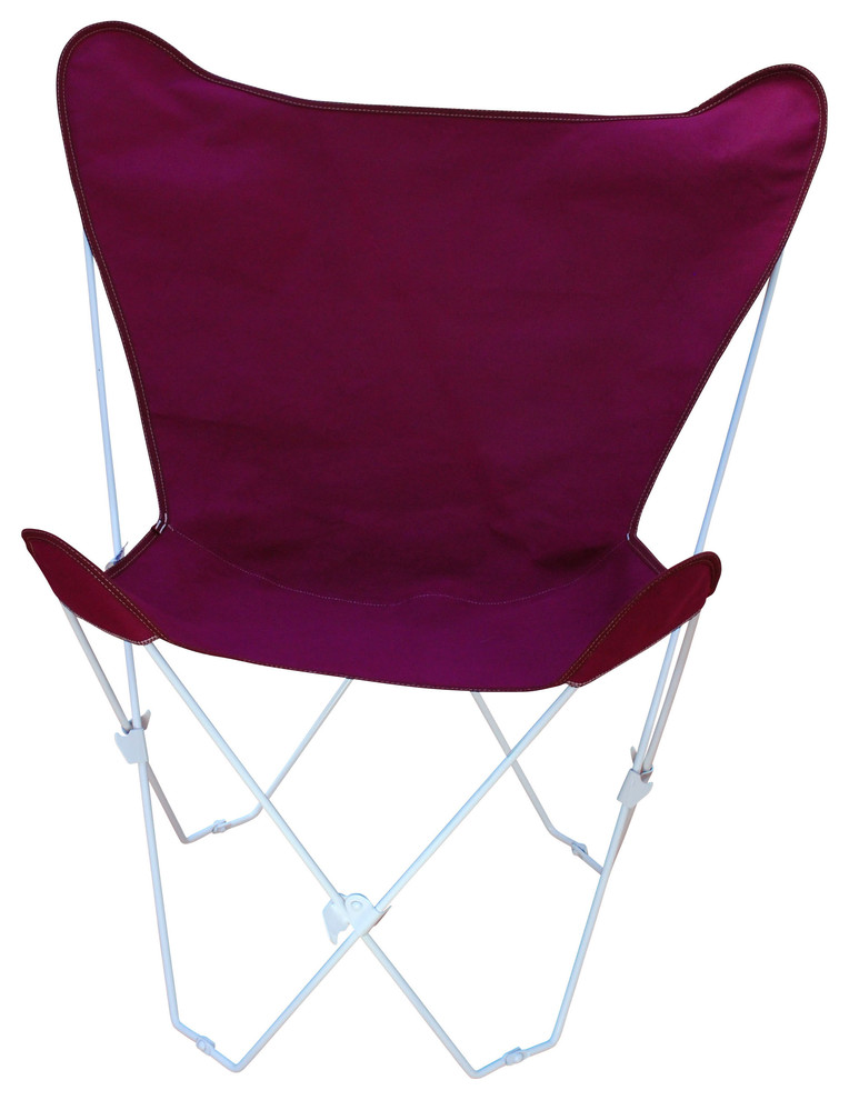Butterfly Chair And Cover Combination With White Frame - Burgundy