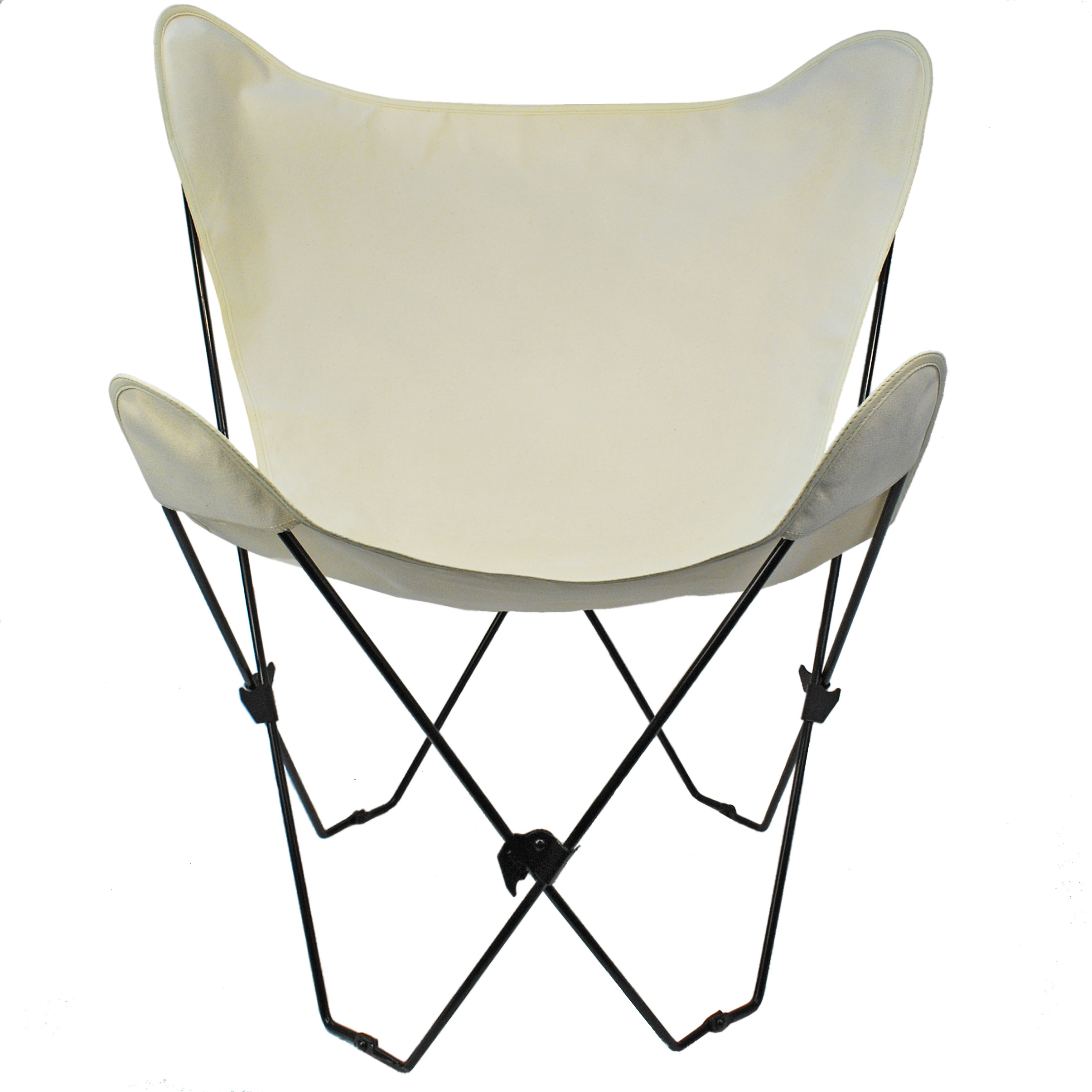 Butterfly Chair and Cover Combination w/Black Frame - Natural (white)