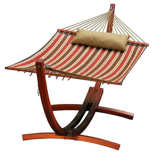 12 Foot Wooden Arc Stand w/Quilted Hammock and Pillow