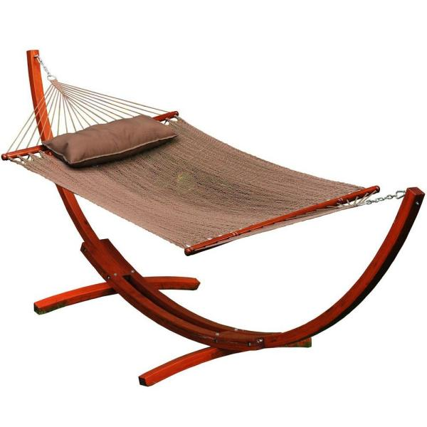 12 Foot Wooden Arc Stand w/Brown Caribbean Hammock and Matching Pillow