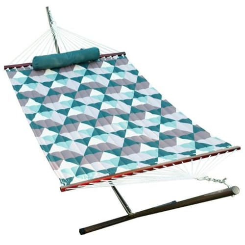 12' Quilted Hammock, Pillow, and Stand Combination