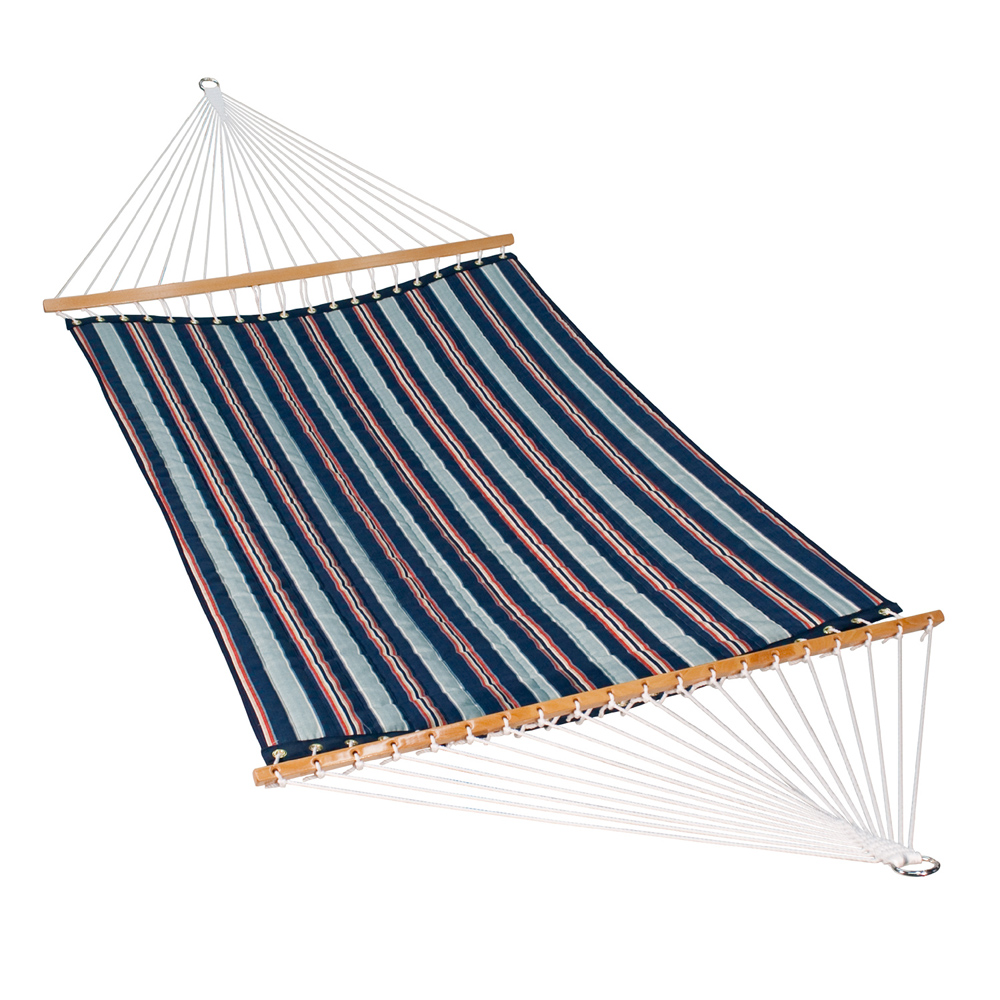 13 Foot Quilted Fabric Hammock - Kingston Stripe Arbor/Arbor Blue Solid