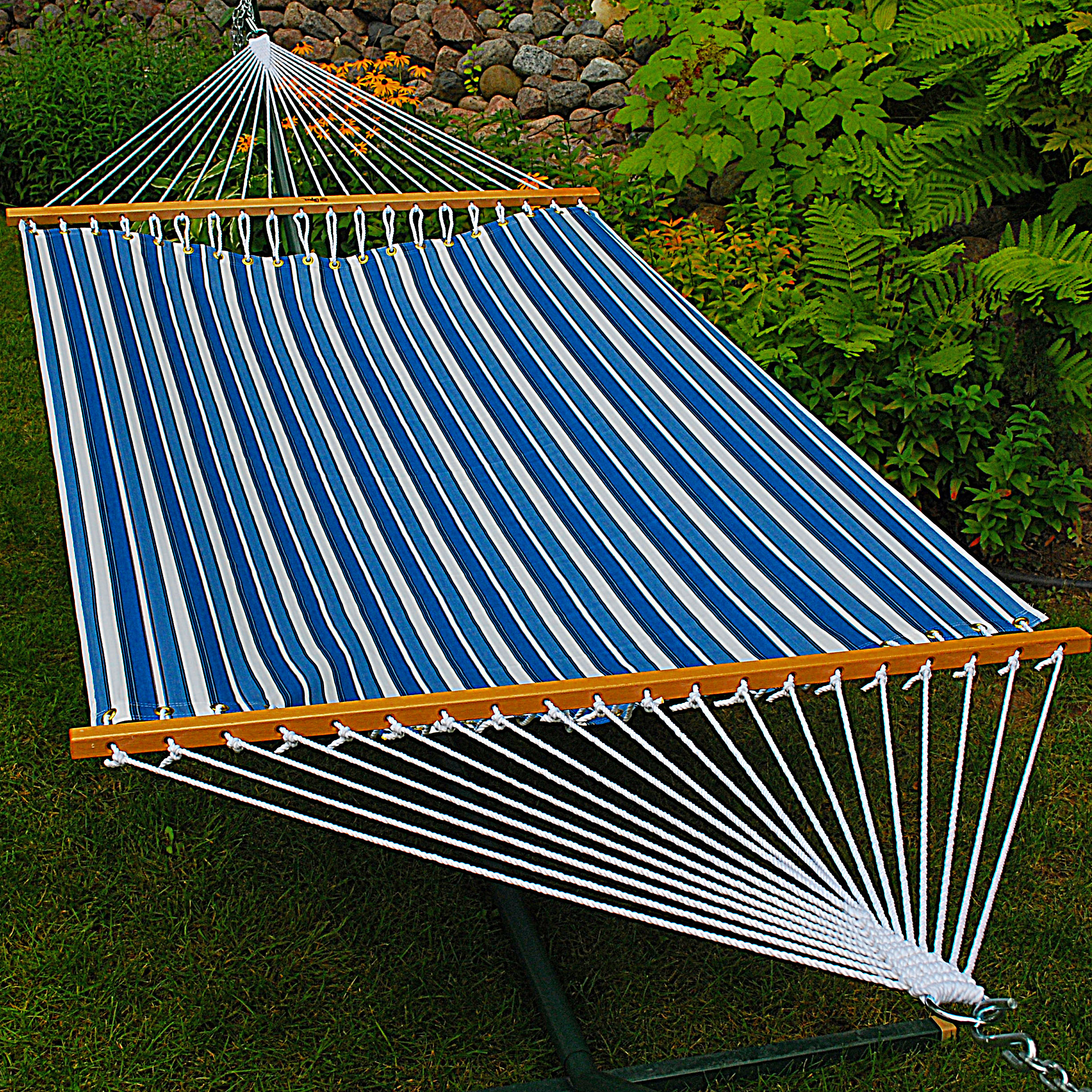 11' Fabric Hammock - Tropical Palm Stripe Blue Print