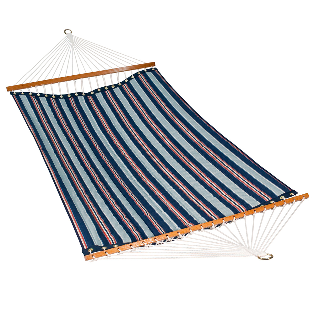 11 Foot Polyester Fabric Hammock - Kingston Stripe Arbor/Arbor Blue Solid