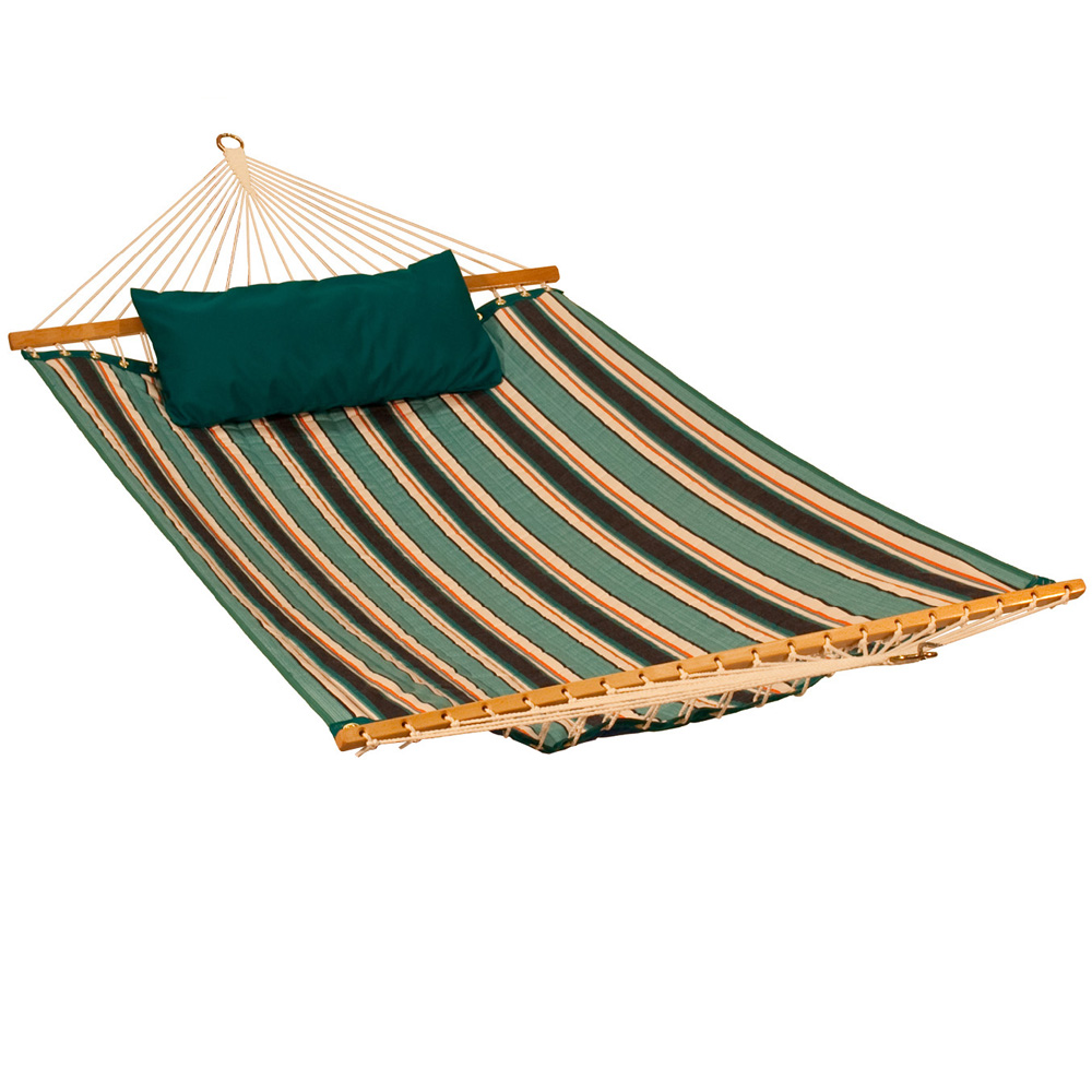 11' Reversible Sunbrella Quilted Hammock - Token Surfside Stripe/ Canvas Teal
