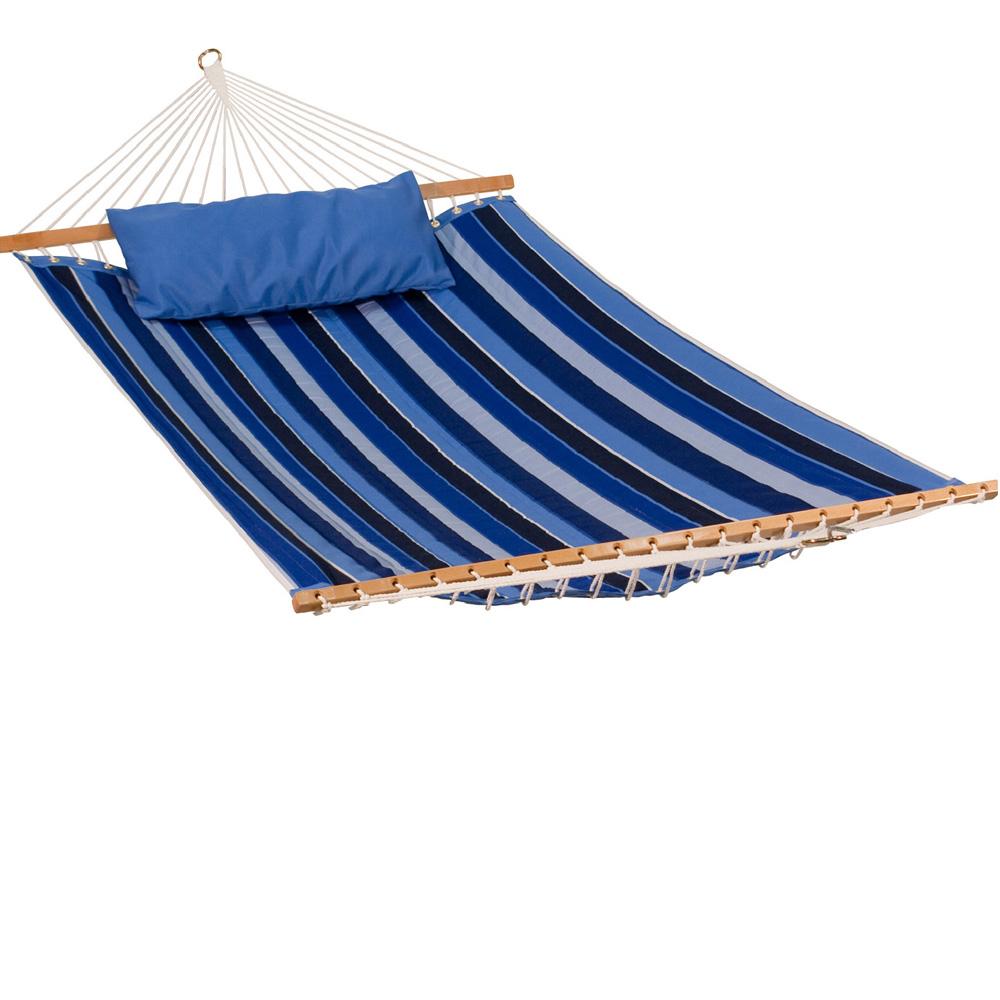 11' Reversible Sunbrella Quilted Hammock - Milano Cobalt Stripe/Canvas Capri Solid
