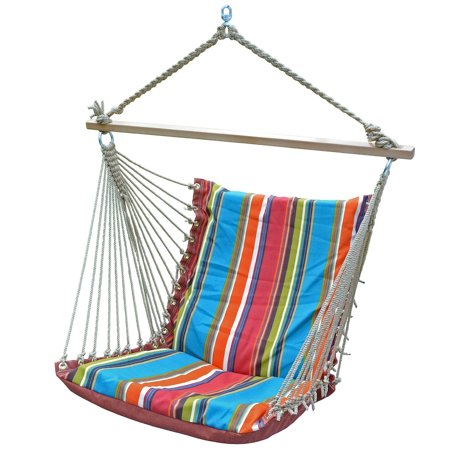 Deluxe Soft Comfort Hanging Chair - Teal Stripe